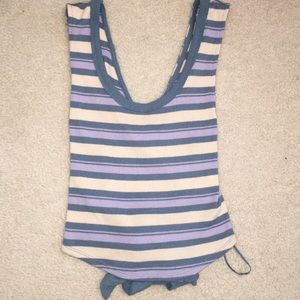 Free People striped cropped tie back tank